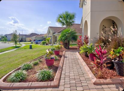 Walkway in home with custom concrete borders